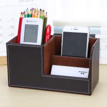 купить PU leather pen holder Multi-function desktop storage box Pen Organizer Business office as gift дешево