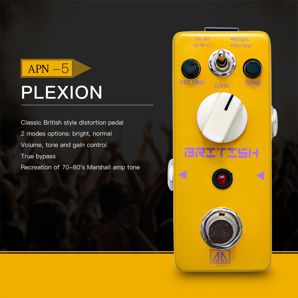 AROMA APN-5 Plexion Classic British Style Distortion Guitar Effect Pedal 2 Modes Aluminum Alloy Body True Bypass aroma adr 3 dumbler amp simulator guitar effect pedal mini single pedals with true bypass aluminium alloy guitar accessories