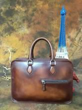 2016/17 Newest Design Vintage style  Genuine Leather laptop bag, men business laptop bag luxury leather messenger Laptop bag