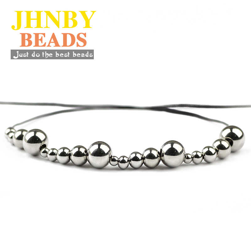 JHNBY Stainless steel Spacer beads ball 3/4/5/6/8MM Metal Round Loose beads for Jewelry bracelet making DIY accessories Findings