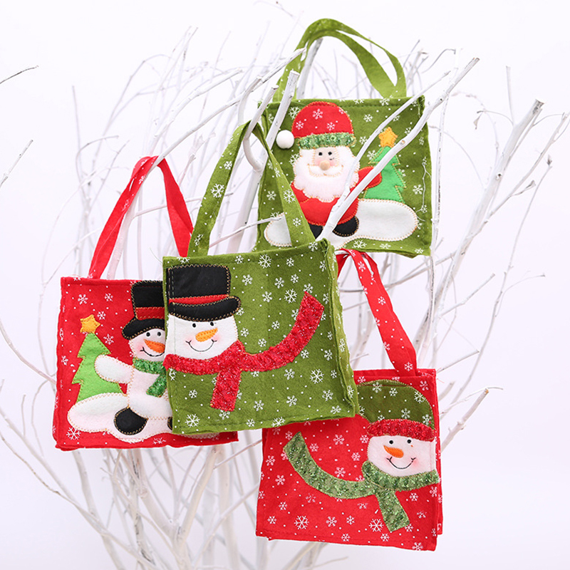 Image 3 - New Year Xmas Gifts Santa Claus Snowman Candy Bags Hangable Pouch Handbag Merry Christmas Storage Package Container Organizer-in Stockings & Gift Holders from Home & Garden