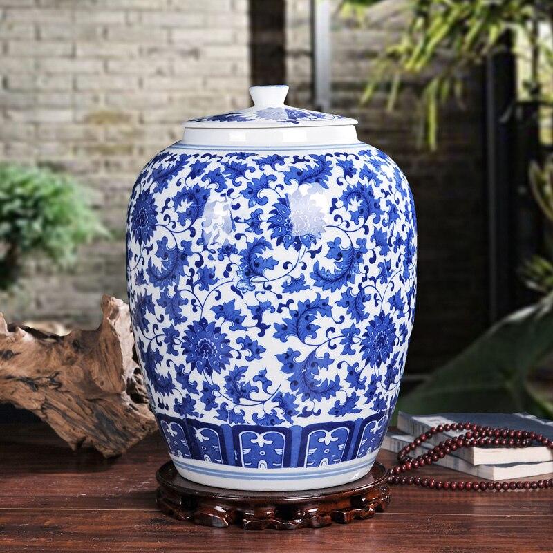 Grand pot de stockage de riz en céramique de porcelaine bleue et blanche chinoise de capacité de 10kgs