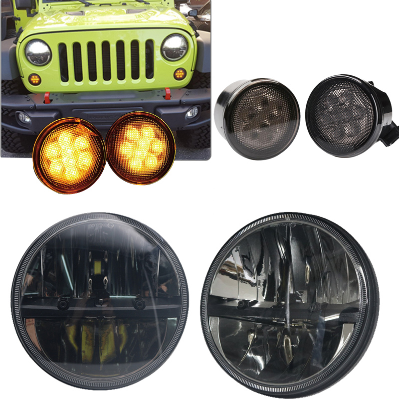 TNOOG 7 36W LED High Low Beam Headlight for Jeep Wrangler with Pair Amber Front LED Turning Signal light майка классическая printio flip the bird