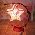 Europea Retro Hierro Colgando Estrellas Lámpara De Mesa Lámparas de Cristal de Sal Lámparas de Cristal de Sal Con Enchufe de EE.UU.