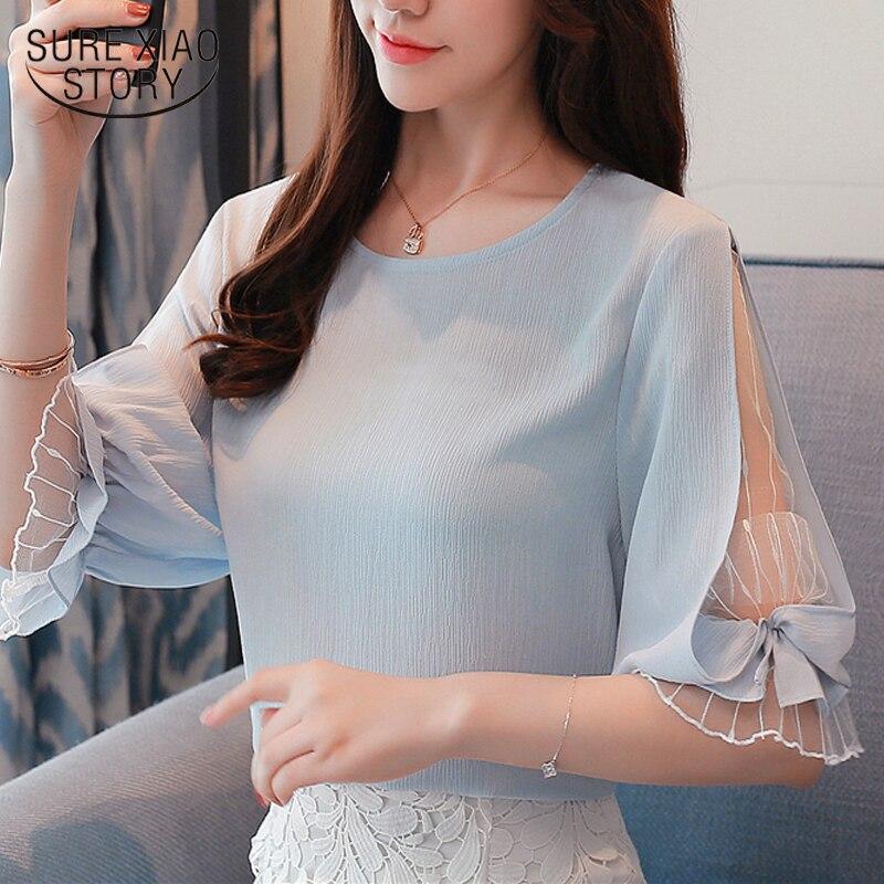 2018 fashion chiffon women's clothing summer half sleeve light blue women shirt