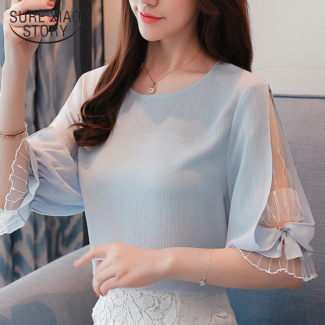 2018 fashion chiffon women's clothing summer half sleeve light blue women shirt blouse sweet o-neck women's tops blusas D740 30