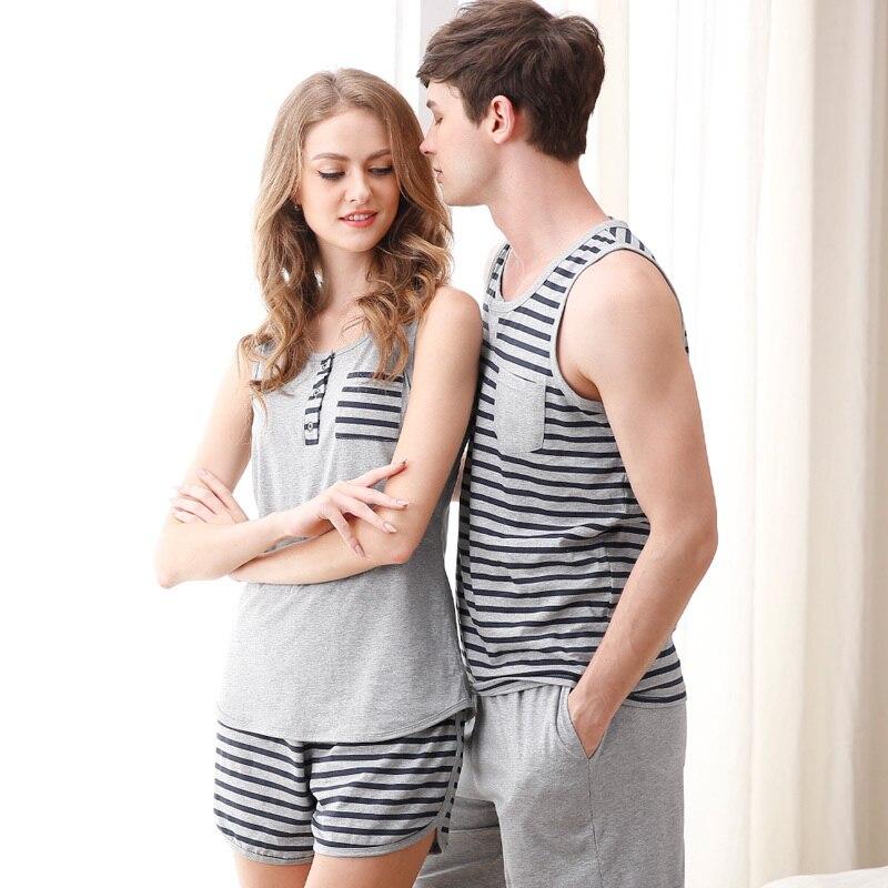 d32ac0cea9fa Pajamas for Women Summer Love Men Vest Pyjamas 100% Cotton Stripe ...