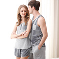 Pajamas for Women Summer Love Men Vest Pyjamas 100% Cotton Stripe Pajama Sets Couples Matching Pajamas