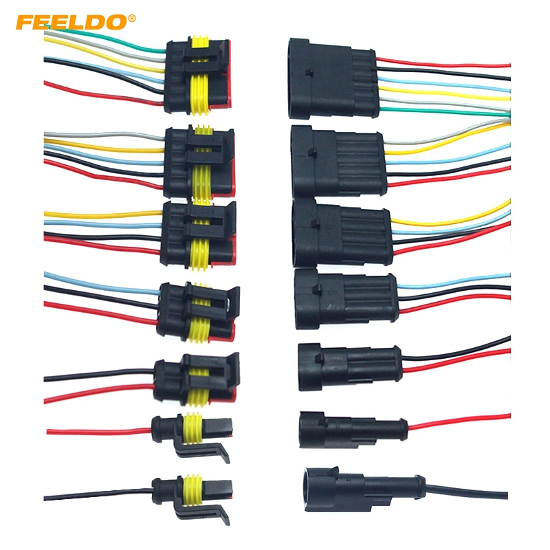 Car Electrical Cable 1//2//3//4//5//6Pin Waterproof Connector Plug with Wire Cable US