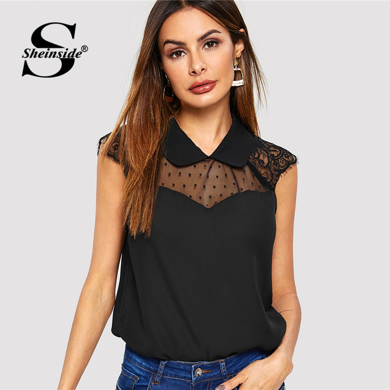 Sheinside Elegant Contrast Mesh Top Women 2019 Summer Casual Sleeveless Doll Collar Blouse Ladies Sheer Lace Patchwork Tops