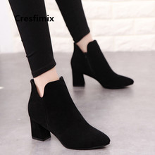 Botas Femininas Women Casual High Quality Flock Comfortable High Heel Boots Lady Leisure Street Black Ankle Boots Bottes E3227