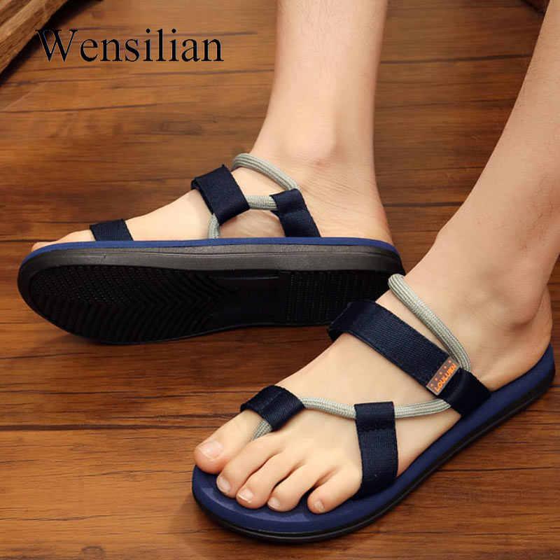 8993a805bcb9 ... Men Sandals Gladiator Sandals Flip Flops Summer Beach Shoes Men Casual  Shoes Slip-on Male ...