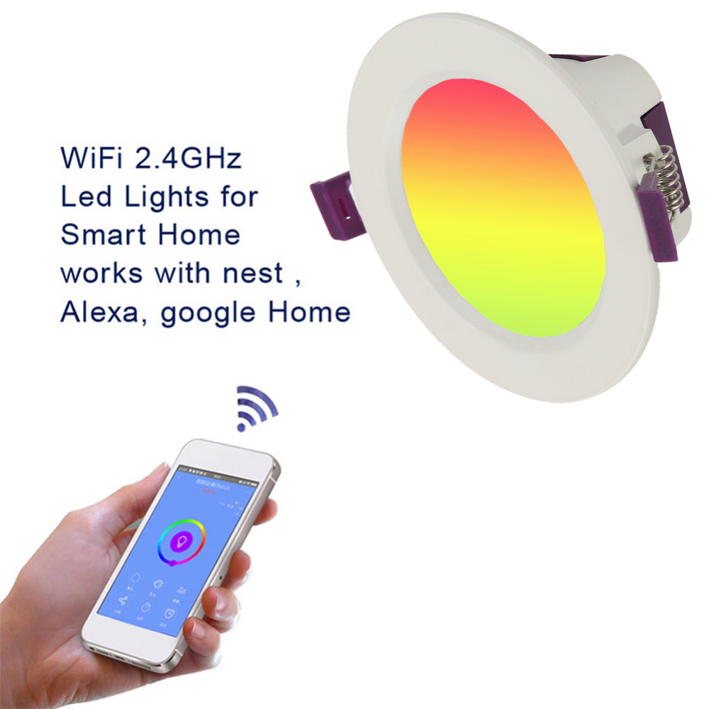Multicolor Full Function LED Smart WIFI Downlight Round Ceiling Recessed Spot Light 10W APP Control work with Alexa&Google HomeMulticolor Full Function LED Smart WIFI Downlight Round Ceiling Recessed Spot Light 10W APP Control work with Alexa&Google Home