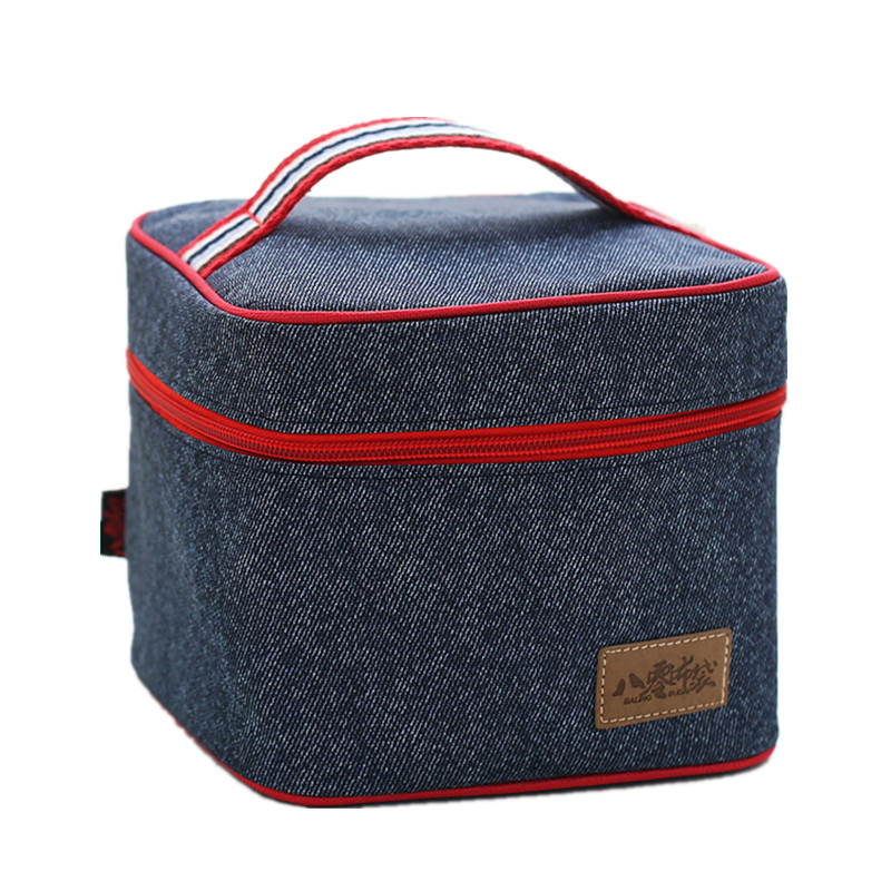 Women Kids Thermal Lunch Bag Denim Insulated Cooler Tote Travel Family Picnic Food Fresh Keep Storage Pouch Container Ice Pack