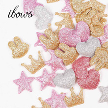100pcs/bag Glitter Patches Crown Rabbit Heart Pattern Cute Patch Apparel Sewing Material For Clothing Garment Decorative