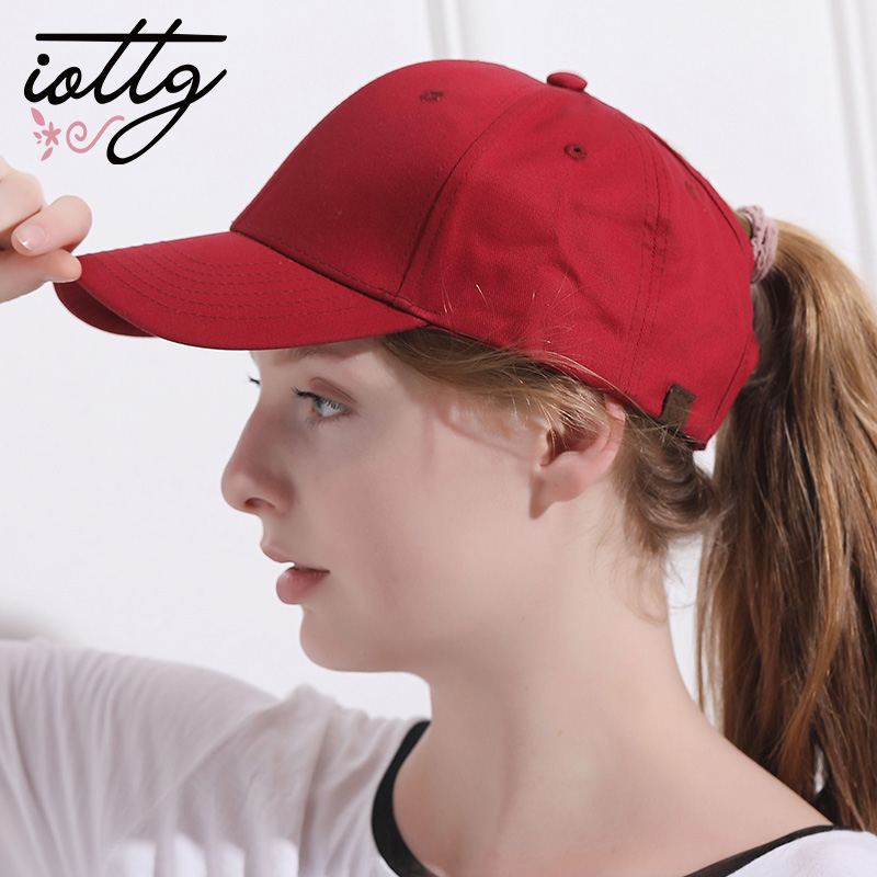 IOTTG Drop Shipping High Quality CC Ponytail Baseball Cap Summer Golf Sports Hats Snapback Hats For Girls Women