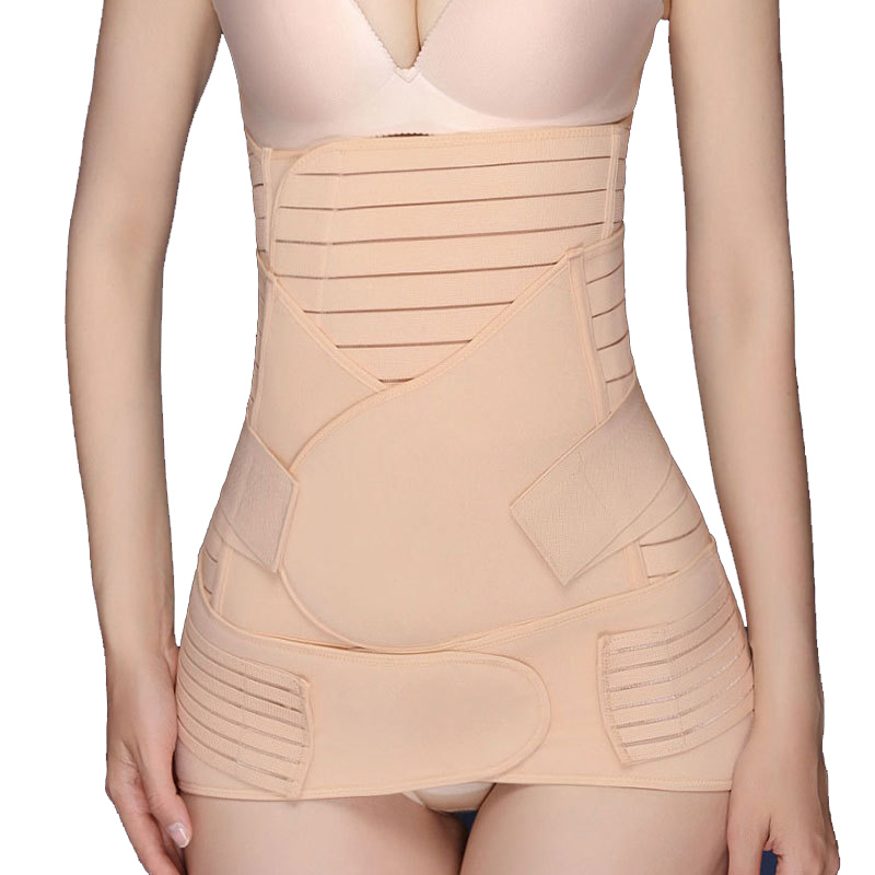 Recuperação Pós-parto Abdômen Cinto + Estômago 3 pc + Elástico pélvica Cinchers Cintura Shaper Do Corpo Slimming Cintura Shapewear Banda Belly