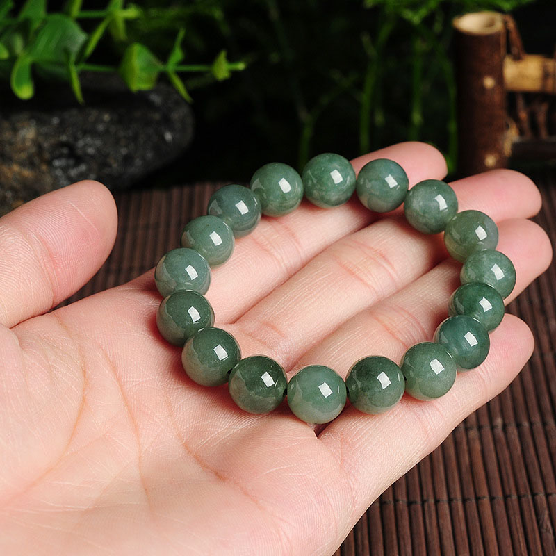Natural Myanmar Emerald Bracelets Drop Shipping Luck Amulet Jade Stone Bracelets For Men And Women Gift in Bracelets Bangles from Jewelry Accessories