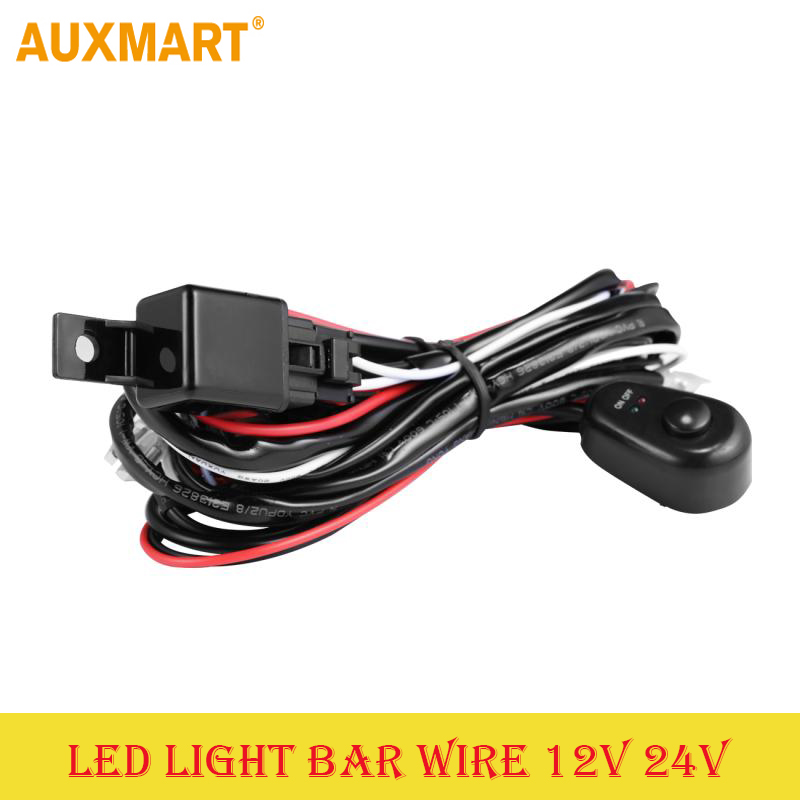 Auxmart Car Auto Led Work Lamp Driving Lights Wiring Loom Harness Offroad Led Light Bar Wire Cable 40A 12v 24v Switch Relay Kit