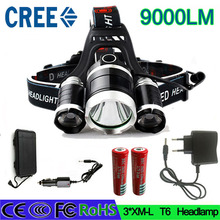 z6 head torch 3 t6 headlamp cree 3x XML t6  led Headlight 9000 Lumen head flashlight hunting led 18650 head lamp charger