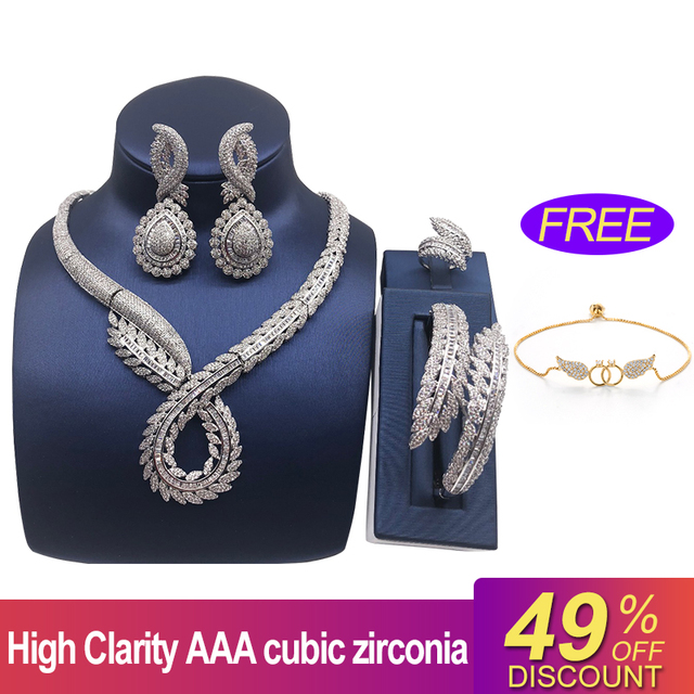 Nankiya Luxury Twist Plant Shape Women Nigerian Wedding Jewelry Sets African Costume Big 4pc Set Romantic Factory Price NC764 5