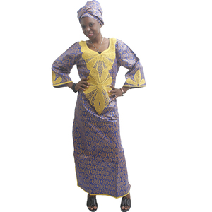 Image 3 - MD בתוספת גודל אפריקאי נשים mt164 שמלת מסורתית בגדים אפריקאים לנשים רקמת bazin riche שמלות הניגרי ראש עניבת