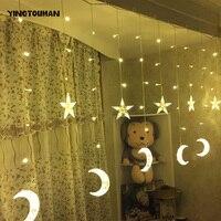 YINGTOUMAN 138LED Star Moon Light Plugs Curtain Lamp Festive Party Bedroom Lantern Light String Wedding Christmas