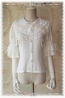 Magic Tea Party Chiffon Lolita Blouse Short Sleeve Lolita Shirt Beige/White/Black/Blue/Coffee