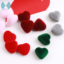 Hair beaded material High quality flocking plush hearts double hole straight hole beads diy earrings accessories by hand