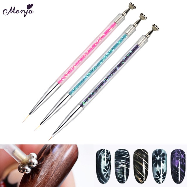 Monja 2way 7/9/11mm Nail Art French Stripes Lines Painting Liner Brush Gel Polish Plum Blossom Effect Magnetic Pen Manicure Tool