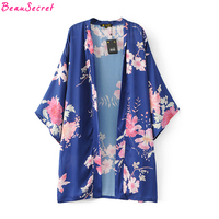 Flowers Printed Kimono Cardigan Women Long Blouse 2017 Floral Thin Coat Red Black Blue