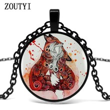 2018/Fox with her baby glass pendant necklace women's dress accessories glass dome jewelry.(China)