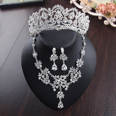 Bride Diaries New Design Crystal Pearl Bride 3pcs Set Necklace Earrings Tiara Bridal Wedding Jewelry Set Accessories (12)