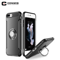 CONNICS Soft Silicone Back Cover for iPhone 7 / 7 Plus Luxury Car Stand Holder 6 6S Covers Free Rotation Ring Stand Phone Case