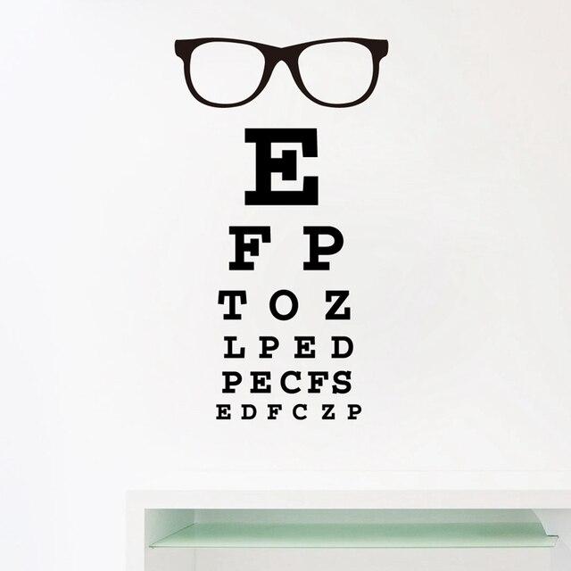 Gles Eye Chart Letters Art Wall Decal Eyewear Specs Frames Vinyl Sticker Doctor Optometry Optical Window Door Decor