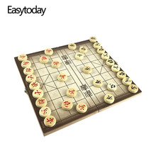 Easytoday Traditional Chinese Chess Pieces Wooden Games Set Soild Wood Portable Folding Board High Quality Game Gift
