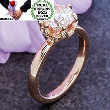 цены OMHXZJ Wholesale European Fashion Woman Man Party Wedding Gift White AAA Zircon 925 Sterling Silver 14KT Rose Gold Ring RR401