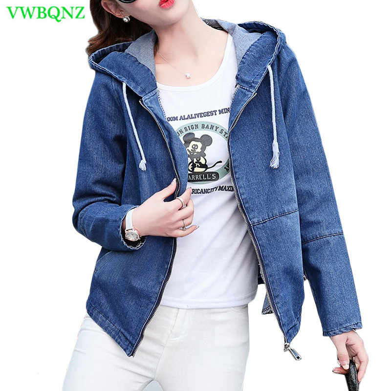 New Women Denim Jacket 2018 Spring Autumn Korean Loose Casual Basic Coat Womens Zipper Hooded Navy Blue Jeans Jackets Coats A489
