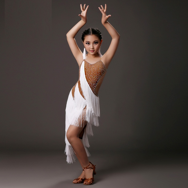 Picture of Kids Latin Dance Dress For Girls White Tassel Modern Dance Costumes For Kids Latin Dress Girls Clothes For Dancing Rumba Samba