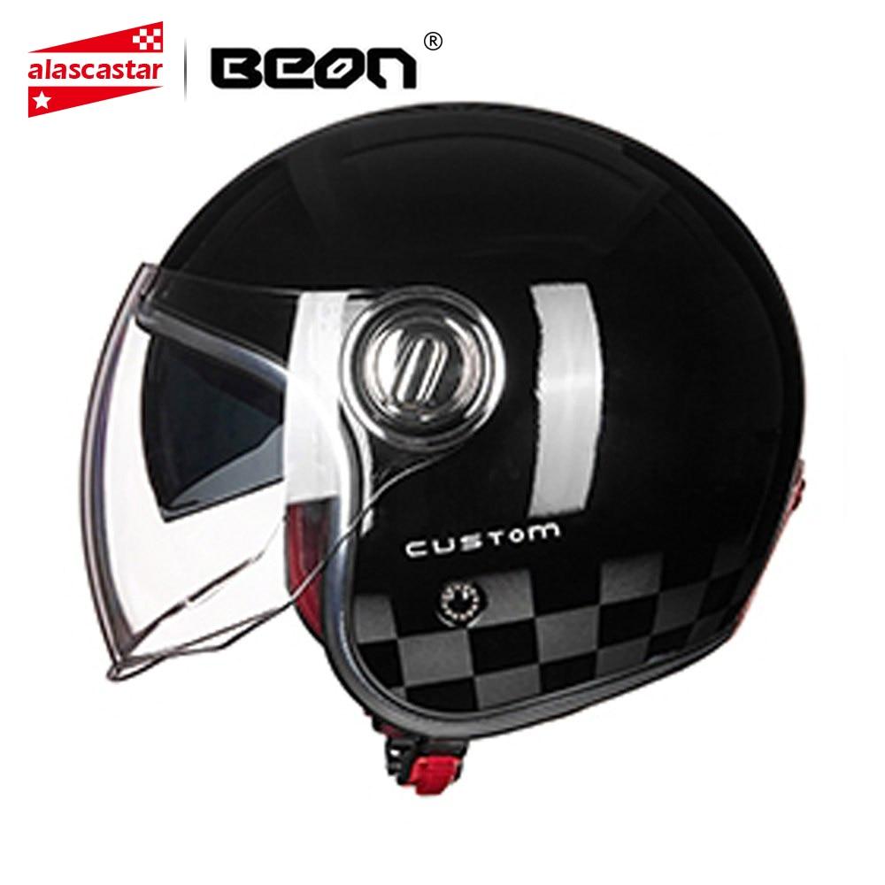 BEON Motorcycle Helmet 3/4 Open Face Vintage Moto Helmet Motorbike Casco Capacete Biker Retro Scooter Moto Helmet Double Visor цена в Москве и Питере
