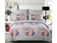 Комплект постельного белья двуспальный-евро СайлиД, B, цветы, серый
