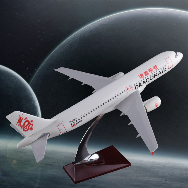 37cm Resin Aircraft Plane Model A320 Hongkong Harbor Dragon Air Airlines Static Model HongKong International Aviation Airbus купить