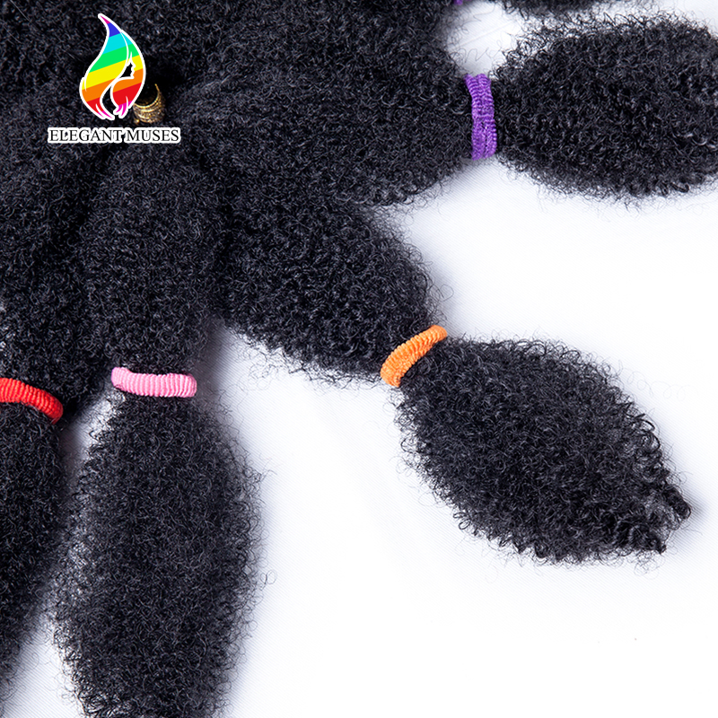 ELEGANT MUSES 10 Inch 50g/pc Black Synthetic Fiber Crochet Braids Afro Kinky Twist Braiding Hair Extensions 10 strands/pack