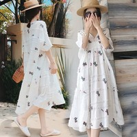 Ukraine Real Vadim Women Free Shipping 2019 New Dress Cotton And Linen Embroidery Floral Korean Version Slim Gentle Mid length