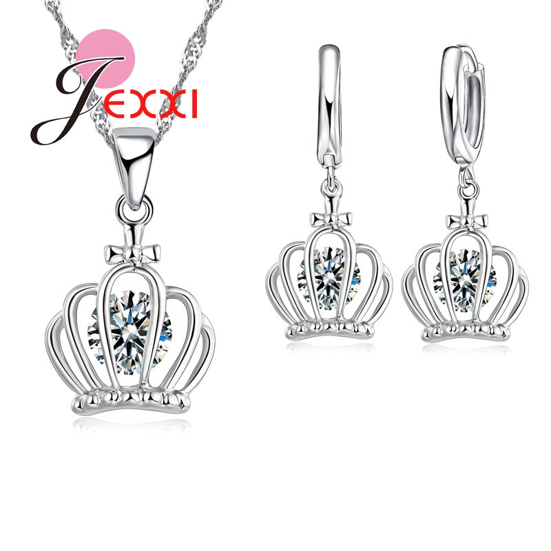 PATICO Fashion Jewelry Sets Necklace And Earrings 925 Sterling Silver Set For Women With Stones Shiny Noble Silver Crown Shape