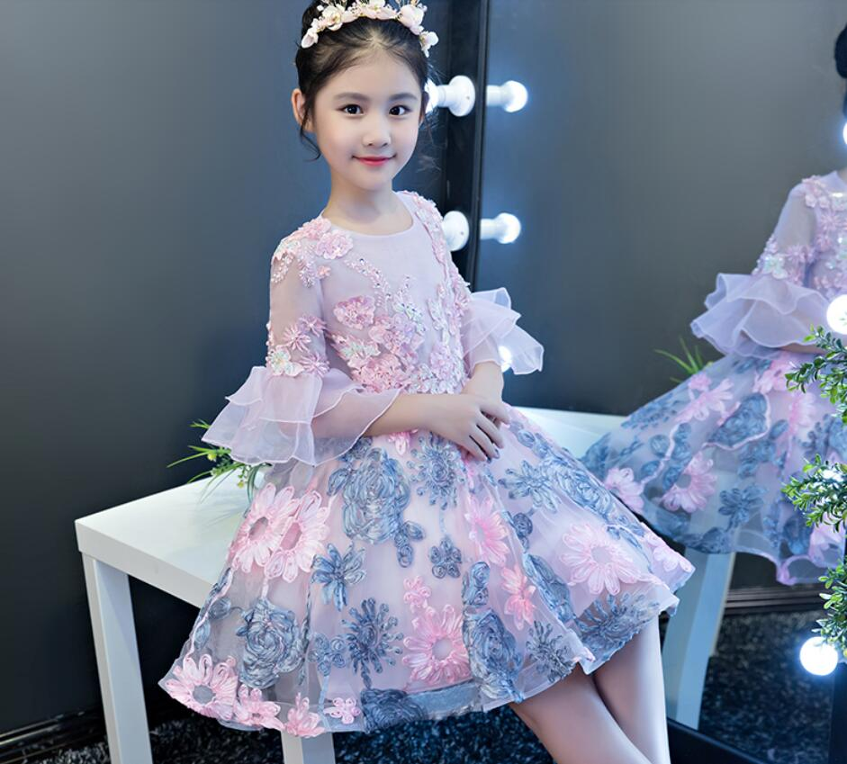 Flower girl <font><b>dresses</b></font> for wedding pageant children ball gown party <font><b>cocktail</b></font> evening formal occasion birthday princess costume <font><b>kids</b></font> image
