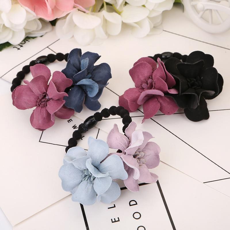 10pcs Elastic Hair Ring Flower Hair Rubber bands Rope Cloth Headbands  O