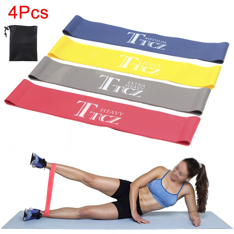 4 Pcs/Set Resistance Loop Exercise Fitness Bands for Yoga Strength Training Pilates Calisthenics &T8 image