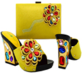 Yellow color nice flower with diamond strange high heels shoe Italian shoes and bag matching set in wedding and party