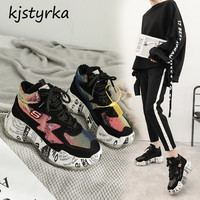 kjstyrka dazzing sequins 2018 fashion comfortable graffiti winter autumn high quality Woman Sneakers ladies platform espadrilles